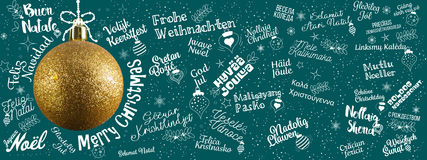 Merry Christmas greetings web banner from world in different lan Royalty Free Stock Photos