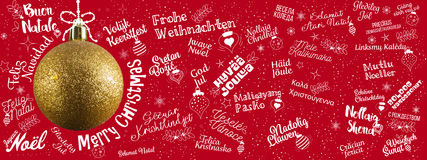 Merry Christmas greetings web banner from world in different lan Stock Photo