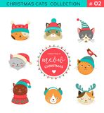 Merry Christmas Greetings With Cute Cats Characters, Vector Collectionn Royalty Free Stock Image