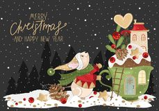 Free Merry Christmas Greetings With Mouse, Festive Cup, Branches And Sweets. Stock Image - 162821671