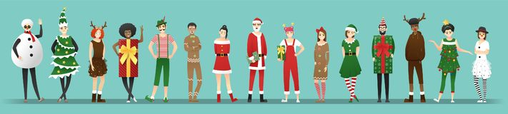 Free Merry Christmas , Group Of Teens In Christmas Costume Concept Isolated On Blue Background Royalty Free Stock Photo - 160574435