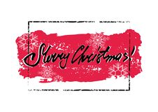 Merry Christmas grunge card. Merry Christmas winter grunge greeting card with red brush stroke with snowflakes in frame and hand written lettering inside on Royalty Free Stock Image