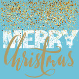 Merry Christmas grunge lettering design on blue background with golden confetti. Holiday lettering card. Vector illustration. Christmas background. EPS 10 Royalty Free Stock Images