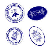 Merry Christmas grunge post stamp Stock Photo