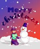 Merry christmas, hallo winter. boy and girl. Cartoon characters  illustration. Merry christmas, hallo winter. boy and girl Royalty Free Stock Photography