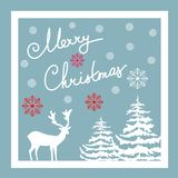 Merry Christmas Hand Calligraphic Lettering. Vector Greeting Card. White Deer Fir Trees Red Snow Flakes. Blue Background. Stock Photography