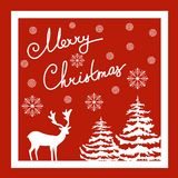 Merry Christmas Hand Calligraphic Lettering. Vector Greeting Card. White Deer Fir Trees Snow Flakes. Red Background. Elegant Style Editable Stock Image