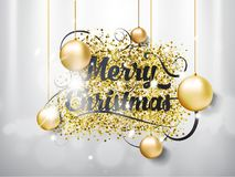 Merry Christmas hand draw lettering text with toys bubbles on silver background and light effect. EPS illustration. stock photo
