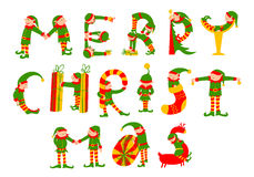 Merry Christmas hand drawing lettering. The letters silhouettes Royalty Free Stock Images