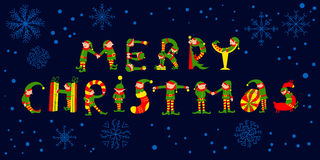 Merry Christmas hand drawing vector lettering. The letters silhouettes are drawn as Christmas elves Stock Photography