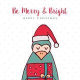 Christmas santa claus penguin cartoon holiday card Royalty Free Stock Photos