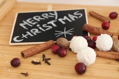 Merry Christmas hand drawn. Decoration. Christmas spices background, frame of christmas food, flat lay, top view