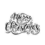 Merry Christmas. Hand drawn calligraphy text. Holiday typography design. Black and white Christmas greeting card. Vector illustration EPS10 Royalty Free Stock Photo