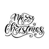 Merry Christmas. Hand drawn calligraphy text. Holiday typography design. Black and white Christmas greeting card. Vector illustration EPS10 Stock Photo