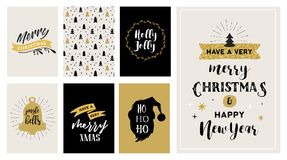 Merry Christmas hand drawn cards Stock Images