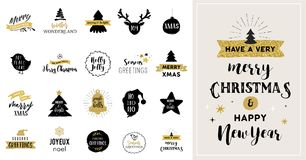 Merry Christmas hand drawn cards, illustrations and icons Stock Photography