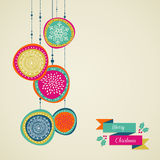 Merry Christmas Hand Drawn Circle Baubles Vector File. Royalty Free Stock Photo