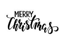 Merry Christmas. Hand drawn creative calligraphy and brush pen lettering. Design for holiday greeting cards and invitations of the Merry Christmas and Happy Stock Photos