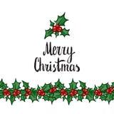 Merry Christmas. Hand drawn design element royalty free illustration