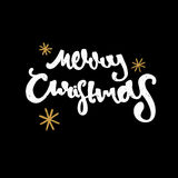 Merry Christmas hand drawn  design. Modern calligraphy and brush lettering. Black background Vintage retro textured Stock Photos