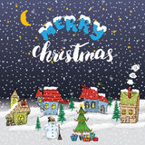Merry Christmas Hand drawn doodle with small houses, snowman and christmas tree with gift boxes. Christmas greeting card or invita Royalty Free Stock Photo