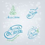 Merry Christmas Hand Drawn Elements Stock Photos