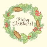 Merry Christmas Hand Drawn Greeting Card with Wreath of Fir Branches  Royalty Free Stock Photography
