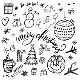 Merry Christmas hand-drawn illustration with text. Stock Photo