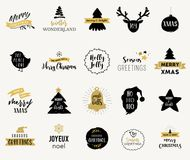 Merry Christmas hand drawn illustrations and icons, lettering design collection Royalty Free Stock Photo