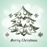 Merry Christmas hand drawn invitation card Stock Images