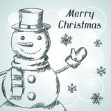 Merry Christmas hand drawn invitation card Stock Image