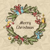 Merry Christmas hand drawn invitation card Stock Photos
