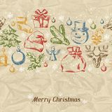 Merry Christmas hand drawn invitation card Stock Photo