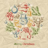 Merry Christmas hand drawn invitation card Royalty Free Stock Image