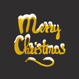 Merry Christmas hand drawn lettering stock image