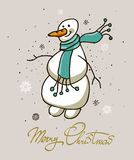 Merry Christmas hand drawn lettering with snowman  illustration. Vector. Greeting card Royalty Free Stock Photography