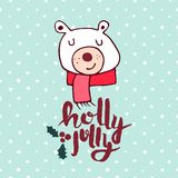 Christmas cute holiday polar bear cartoon card Royalty Free Stock Images