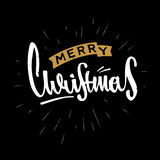 Merry Christmas hand drawn retro design. Modern calligraphy and brush lettering. Vintage retro textured Stock Photos