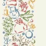 Merry Christmas hand drawn seamless pattern design Royalty Free Stock Photos