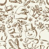 Merry Christmas hand drawn seamless pattern design Royalty Free Stock Photo