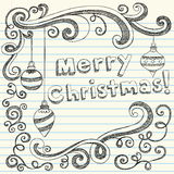 Merry Christmas Hand-Drawn Sketchy Doodles. Hand-Drawn Merry Christmas / x-mas Sketchy Notebook Doodles with 3-D Lettering, ornaments, and swirls. Vector Royalty Free Stock Photography