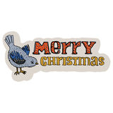 Merry Christmas hand drawn title. Christmas greeting card. Cartoon style. Tomtit bird. Lettering. Editable vector illustration Stock Image