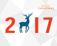Merry Christmas 2017 with hand drawn vintage deer Royalty Free Stock Image