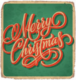 MERRY CHRISTMAS vintage card (vector). MERRY CHRISTMAS vintage card with hand lettering -- handmade calligraphy, and with grunge effect Stock Photo