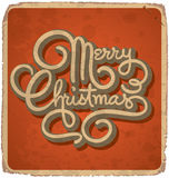 MERRY CHRISTMAS vintage card (vector). MERRY CHRISTMAS vintage card with hand lettering -- handmade calligraphy, and with grunge effect Stock Image