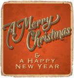 MERRY CHRISTMAS vintage card (vector) Royalty Free Stock Images