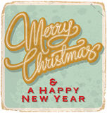 MERRY CHRISTMAS vintage card (vector) Stock Photo