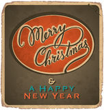 MERRY CHRISTMAS vintage card (vector). MERRY CHRISTMAS vintage card with hand lettering -- handmade calligraphy, and with grunge effect royalty free illustration