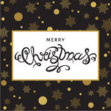 Merry Christmas hand lettering on background with golden snowfla. Christmas  greeting  card. Hand lettering on black  background with  golden snowflakes. Vector Royalty Free Stock Images