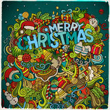 Merry Christmas hand lettering and doodles Royalty Free Stock Photo